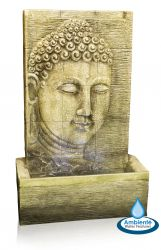 H100cm Nirvana Buddha Falls Water Feature with Lights | Indoor/Outdoor Use by Ambienté