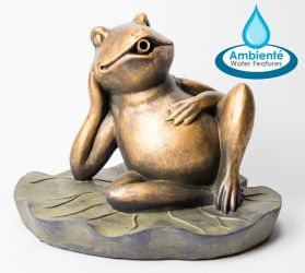 41cm Frog On Leaf Pond Spitter Fountain by Ambienté™
