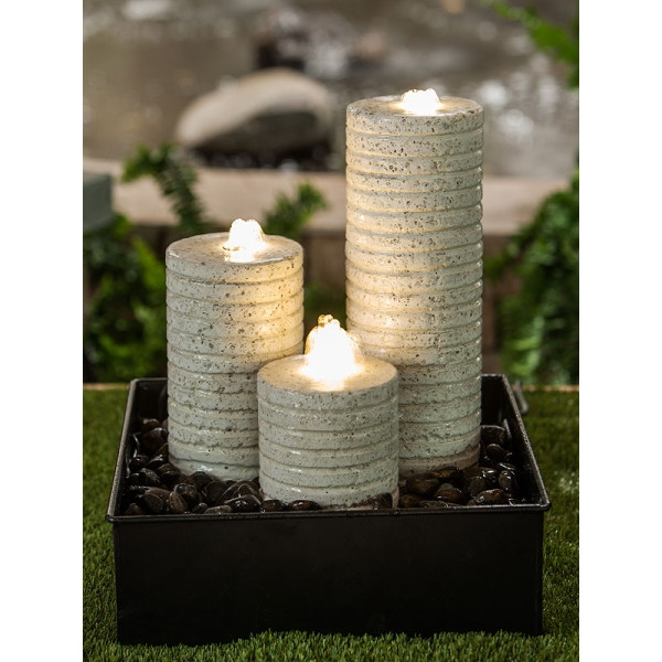 H52cm Terrazzo White Columns Water Feature with Lights