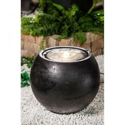 Black Villa Fontania Water Feature with Lights - H50cm x D50cm x W50cm