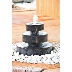 Terrazzo 3 Tier Millstone Water Feature with Light - Diameter 66cm