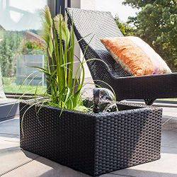 W66cm Black Rectangular Rattan Patio Pond Planter