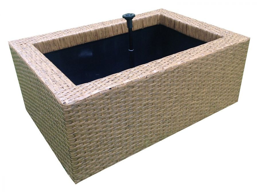 H66cm Rectangular Patio Pond Brown Rattan
