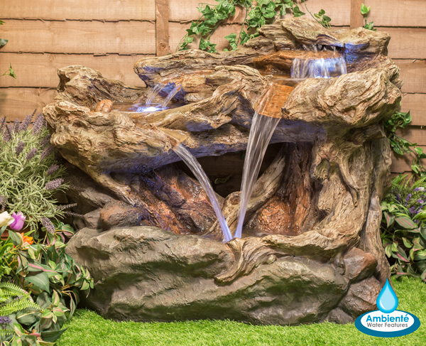 77cm Montana Falls Log and Rock Cascade Water Feature with Lights - by Ambienté
