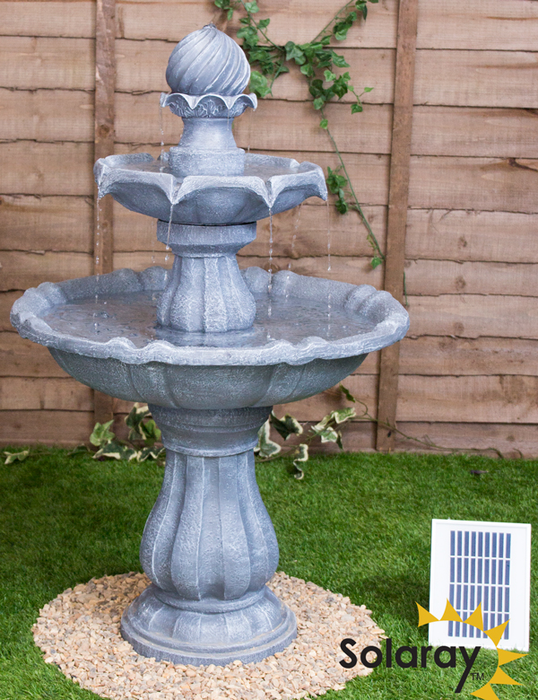 92cm Grey Imperial Tiered Solar Fountain with Lights by Solaray™