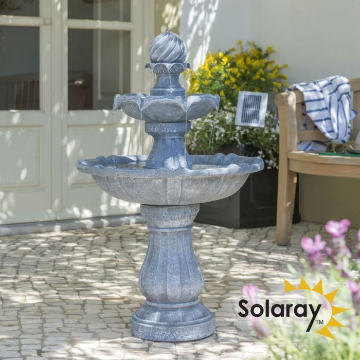 H92cm Grey Imperial Tiered Solar Water Fountain with Lights by Solaray