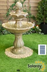 H92cm Cream Imperial Round Tiered Solar Water Fountain with Lights by Solaray