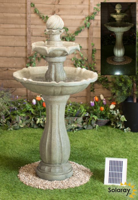 112cm Antique Imperial Round Tiered Solar Fountain with Lights - By Solaray™