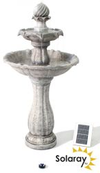 112cm White Imperial Round Tiered Solar Fountain with Lights - By Solaray™