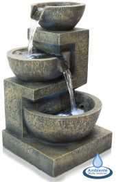48cm Kendal Terracotta 3-Tier Cascade Water Feature with Lights by Ambienté™
