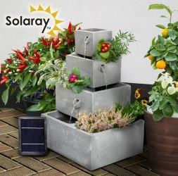 62.5cm Perth Square 4-Tier Solar Water Feature Cascading Herb Planter With Lights by Solaray™