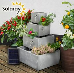 60cm Perth Square 4-Tier Solar Water Feature Cascading Herb Planter With Lights by Solaray™