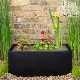 W70cm Ornamental 'Pond in a Pot' Trough Black Fibreglass Planter