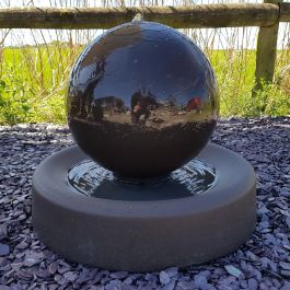 44cm Handmade Stone Sphere Water Feature with Round Base - Charcoal Black