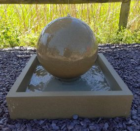 43cm Handmade Stone Sphere Water Feature with Square Base - Weathered Bath Stone