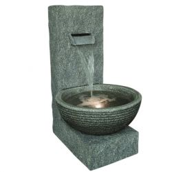 Grey Wall Cascade Modern Style LED Water Feature