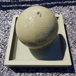 43cm Handmade Stone Sphere Water Feature with Square Base - Bath Stone