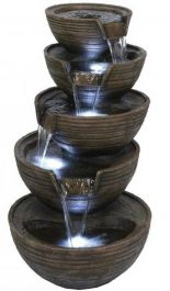 Stacked Brown Bowls LED Water Feature
