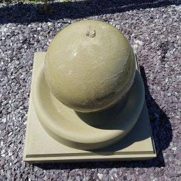 57cm Handmade Stone Sphere Water Feature with Round Tray and Stone Base - Weathered Stone