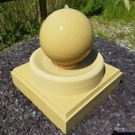 57cm Handmade Stone Sphere Water Feature with Round Tray and Stone Base - Doulting Stone