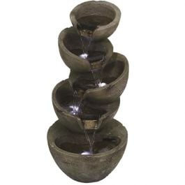 Stacked Green Bowls LED Water Feature