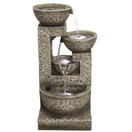 Medium Grey 4 Bowl LED Water Feature