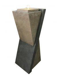 Diagonal Stone Pillar Modern Style LED Water Feature