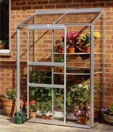Halls Lean-To 4ft x 2ft Aluminium Frame Greenhouse with Horticultural Glazing - Silver