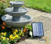 Solar Cascade Three Tier Fountain Water Feature (H42cm) by Solaray�