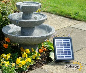 Hatfield Cascade Three Tier Fountain Solar Water Feature (H42cm) by Solaray™