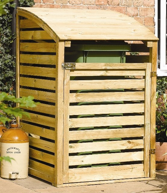 Single Wooden Wheelie Bin Store W80cm x H128cm