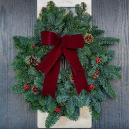 25cm (10in) Burgundy Bow Real Christmas Wreath