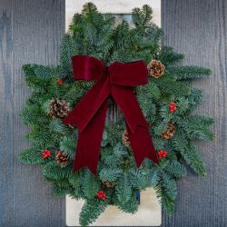 31cm (12in) Burgundy Bow Real Christmas Wreath