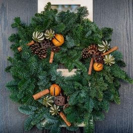 25cm (10in) Festive Spice Real Christmas Wreath