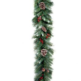 6ft Frosted Berry Prelit LED Mantel Swag Battery Operated