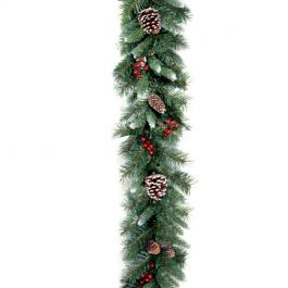 9ft Frosted Berry Garland Prelit LED Battery Operated