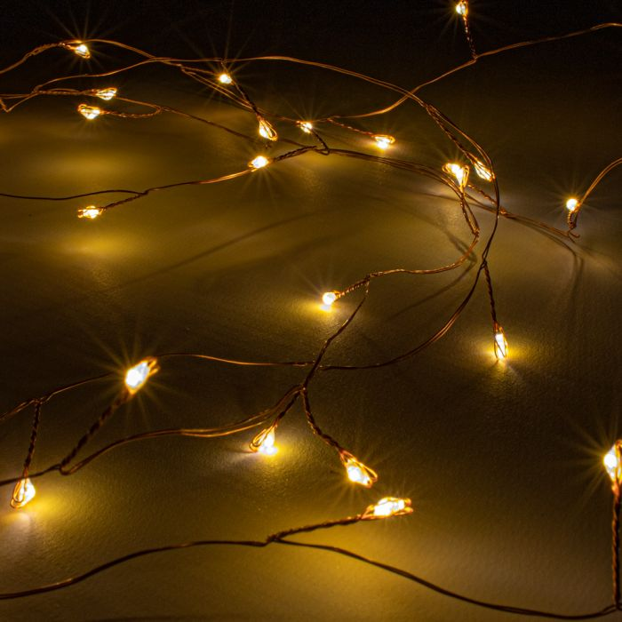 80 Amber LED Battery Operated Dewdrop Cluster Fairy Lights