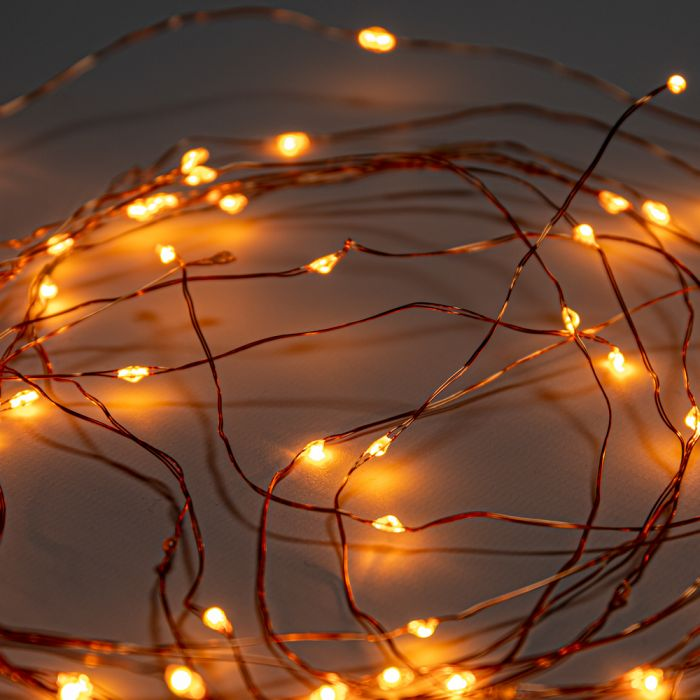 50 Amber LED Battery Operated Dewdrop Fairy Lights