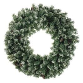 60cm Frosted Christmas Wreath with Cones
