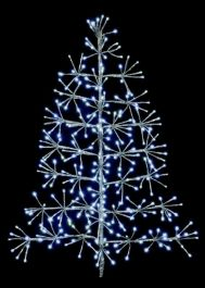 90cm Silver Tree Christmas Starburst Wall Decoration with White LED's