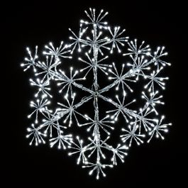 60cm Silver Christmas Snowflake Starburst Wall Decoration with White LED's