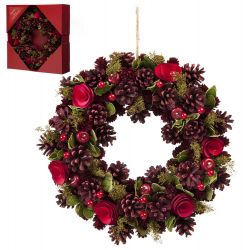 36cm Red Rose and Pinecone Christmas Wreath