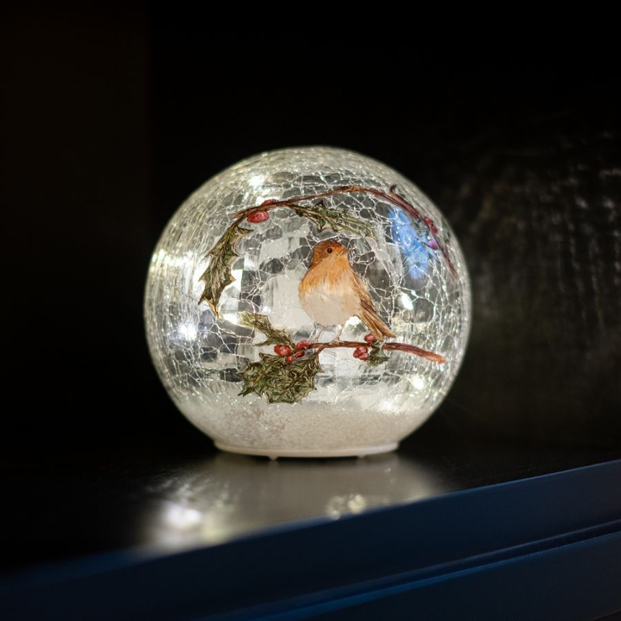 15cm  Battery Operated Warm White Crackle Effect Robin Ball