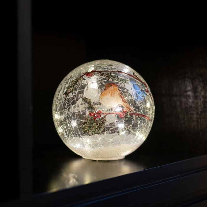 20cm  Battery Operated Warm White Crackle Effect Robin Ball