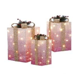 Set of 3 Battery Operated LED Light Up Christmas Gift Boxes in Pink Ombre