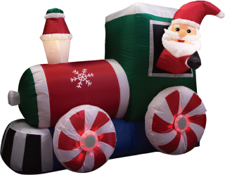 Large Inflatable Outdoor Garden Light Up Train and Santa Decoration
