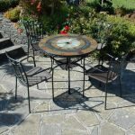 Alcira Garden Patio Set - 100cm Mosaic Table with 4 Malaga Chairs
