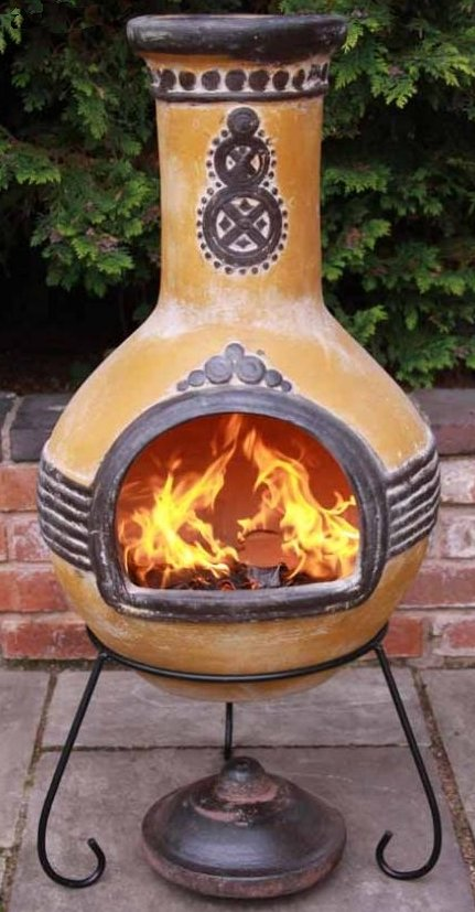 Azteca Clay Chimenea By Gardeco (Yellow) - Large and X Large Sizes