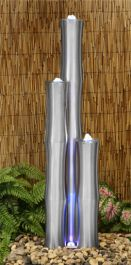 3ft/93cm Small 3 Brushed Stainless Steel Bamboo Tubes Water Feature With LED Lights On Tubes & Base