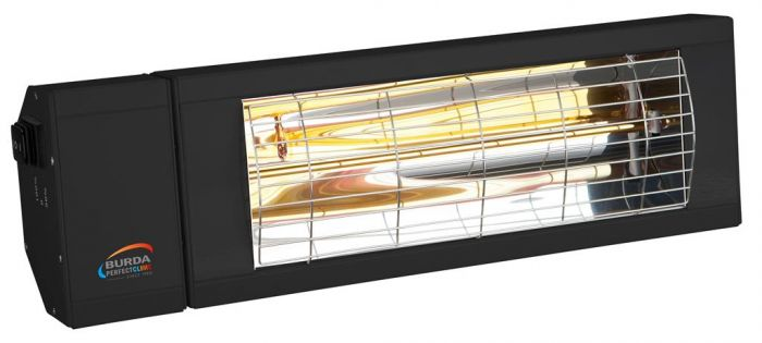 2kw Black Infrared Heater with Switch and Low Glare by Burda™